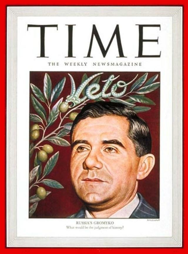 Громыко на обложке журнала Time от 18 августа 1947.