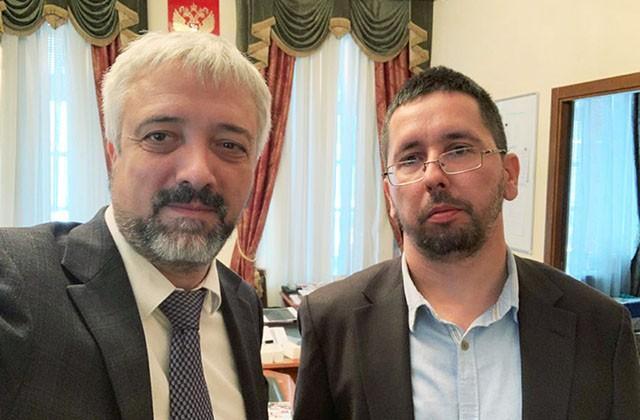 Руководитель Россотрудничества Евгений Примаков и Михаил Чернов, 15.09.2020